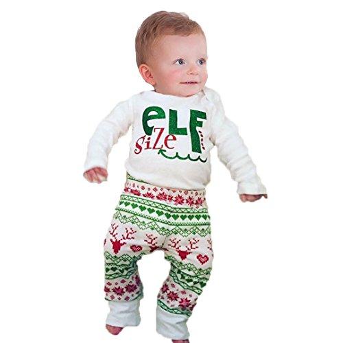 Unmega Baby Boy Girl Xmas Outfit Christmas ELf Long Sleeve Romper Bodysuit Deer Pants Set (100/18-24 months) -
