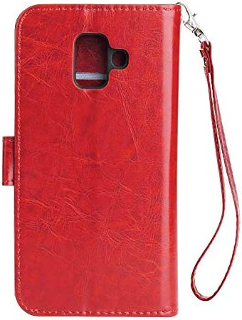 CUSKING Galaxy A6 2018 対応 手帳型 ケース, 高級 PUレザー 手帳ケース, Samsung Galaxy A6 2018 衝撃吸収 保護ケース 財布型 ケース スタンド機能 カード ポケット 付き, レッド