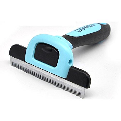 Ju&Ju Pet Grooming Brush-Dog & Cat Hair Deshedding Tool with Stainless Steel Skin Friendly Blades ()