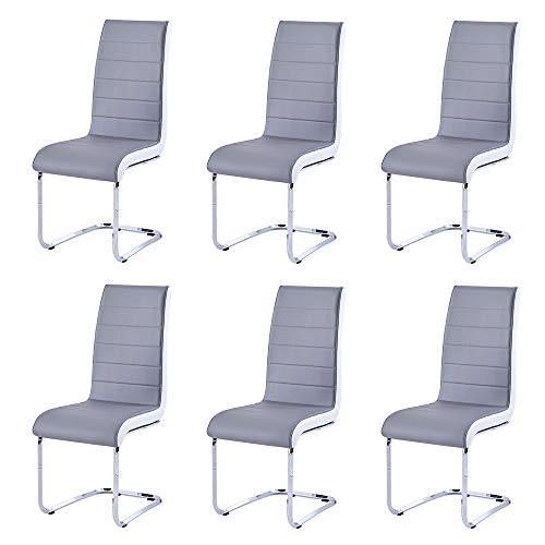 Modern Dining Chairs Set of 6, Grey White Side Dining Room Chairs, Kitchen Chairs with Faux Leather Padded Seat High Back and Sturdy Chrome Legs, Chairs for Dining Room,Kitchen, Living Room
