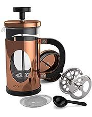 bonVIVO GAZETARO I Franse pers koffiemaker, roestvrijstalen cafetière met glazen kan, koffie zuiger met filter, handmatige koffiezetter met koperen afwerking – koffiepers klein (12 oz/0.35 l)