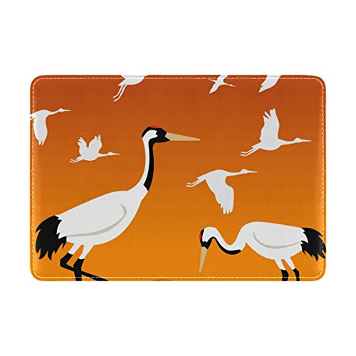 COOSUN Flying Cranes Leder Reisepasshülle für Travel One Pocket