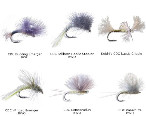 Mayfly - BWO Cdc Dry / Emerger / Cripple Flies - 12 Piece Fly Assortment Kit (Blue Winged Olive Parachute)