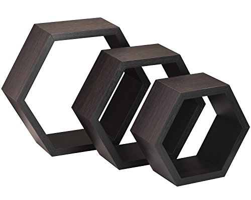 Halter Hexagonal Shaped Floating Shelves (Brown) For Wall/Room Decorative Display - Set of Three - Easy Installation,Screws & Hardware Included - Wood Veneer by Halter
