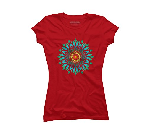 Blooming Sun Flower Mandala Juniors' X-Large Red Graphic T Shirt