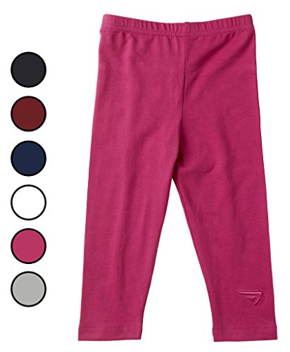 - Sportoli Baby Girls and Toddlers Cotton Blend Jersey Knit Solid Long Leggings - Fuchsia (Size 4T)