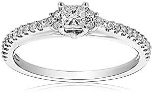 14k White Gold Princess-Cut Diamond Engagement Ring (1/2 Cttw, G-H Color, I1-I2 Clarity), Size 6