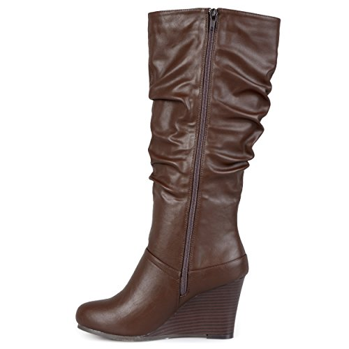 Brinley Co Womens Star Slouch Boot Regolare E Largo In Vitello Marrone Largo