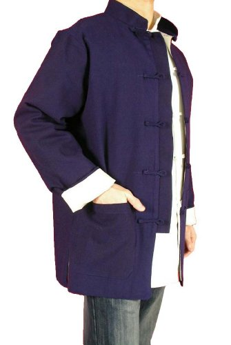 Lin Premium Col Mao Veste Bleue Tai Chi Arts Martiaux Blouson Homme Tailleur #103