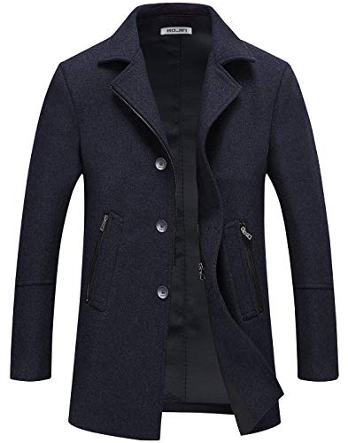 Mens Pea Coat Winter Trench Wool Coat Short Silm Fit Zipper Pockets Single Breasted