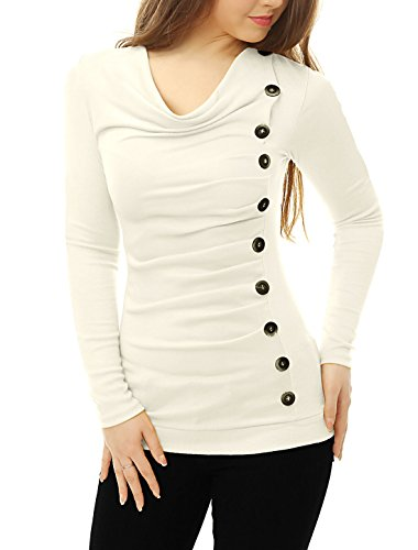 (Allegra K Women's Cowl Neck Long Sleeves Buttons Decor Ruched Top White M (US)