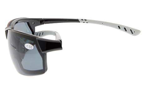 Gr8Sight Sun Lisez des lunettes de soleil de lecture bifocale Lunettes anti-éclaboussures UV400 anti-éclaboussures Wraparound Designer Style Sports Blanc Cadre Gris Lentille +1.00 IHAmXUU
