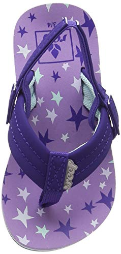Reef - Girls Little Ahi Sandals, Size: 7/8 M US Toddler, Color: Purple Stars