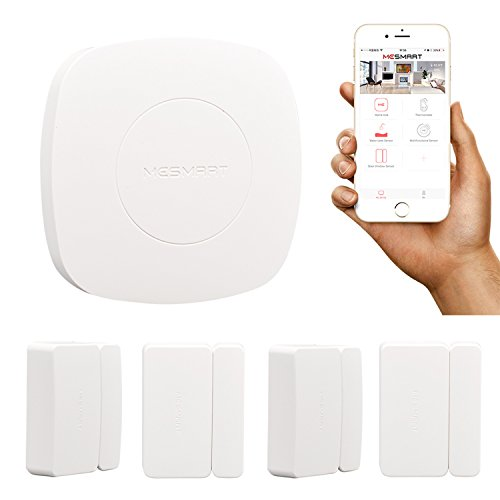 MESMART Home Automation Kit (Smart Home Hub + 4 pcs Door Sensors) Window Closet Cabinet Drawer Open Close Alarm Detector Security Connected Controller Compatible with Amazon Alexa by MESMART