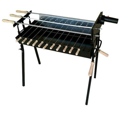 Cyprus FOUKOU LARGE BBQ Barbecue Charcoal Grill Rotisserie WITH 3 LARGE SKEWERS SAME LEVEL & MOTOR ,NEW DESIGN,New