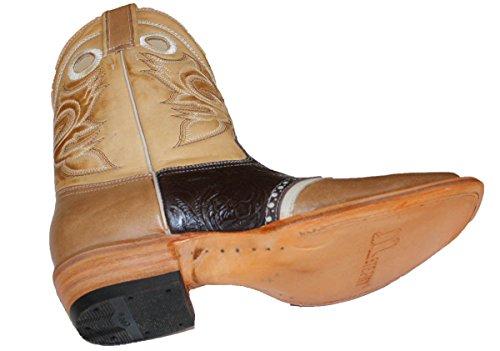Dona Michi Kvinna Läder Cowboystövlar Roper Västra Rodeo Biker Chick Tan / Print