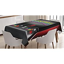 Video Games Tablecloth by Ambesonne, Arcade Machine Retro Gaming Fun Joystick Buttons Vintage 80's 90's Electronic , Dining Room Kitchen Rectangular Table Cover, 52 X 70 Inches
