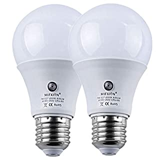 Dusk to Dawn Light Bulbs, Auto ON/Off LED Smart Bulbs 7W A19 4000K, 60W Equivalent, Porch Light Bulbs for Yard Patio Garage Garden 2 Pack by Mingfuxin