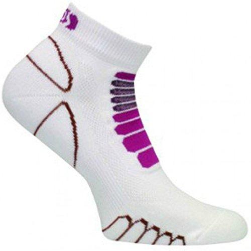 Eurosocks 6309 Silver DryStat Sprint Lightweight Running, Walking, Gym Low Cut  Socks, White/Purple, (Triathlon Low Cut)