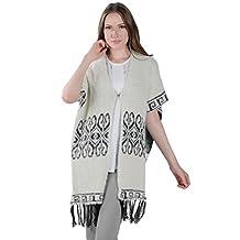 Aerusi Womens All Season Fashion Designed Poncho w/ Tassels