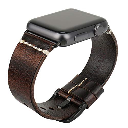 MAIKES Compatible with Apple Watch Band 4 Color Genuine Oil Wax Leather Watch Strap/Watchband Replacement for iWatch Apple Watch Series 4 3 2 1 44mm 40mm 42mm 38mm (42mm, Dark Brown+Black Buckle) ()