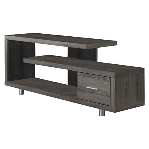 Wood Contemporary Tv Finish Stand (Monarch Specialties I 2574 Dark Taupe with 1 Drawer TV Stand, 60