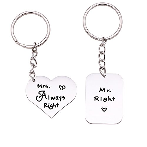 Melix Home Mr Right & Mrs Always Right Keychain Keyring Set -