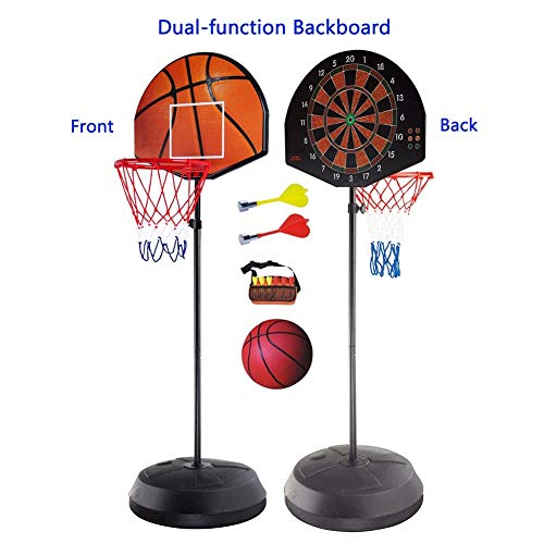 Portable Mini Basketball Hoop System Stand, Adjustable Toy Set for Toddler Kids, Indoor Outdoor Dual-use Backboard Net Goal by Basketball Stand (Image #2)