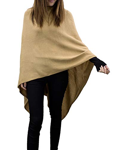 StylesILove Women Ultra Soft Knit Poncho Sweater Pullover Cardigan Lightweight Wrap Topper for All Season (Camel)