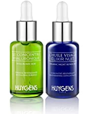 The Day & Night Duo HUYGENS - 2 Face Concentrates - Day Revitalizing Concentrate and Night Repair Oil - All skin types - Organic & Natural - Vegan - Made In France - 2 x 30 ml