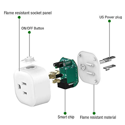 Igreli mini smart plug,Remote Control wifi Outlet with Timing Function and no hub required, Works with Alexa and Google Assistant,- 1 Pack by Igreli (Image #2)