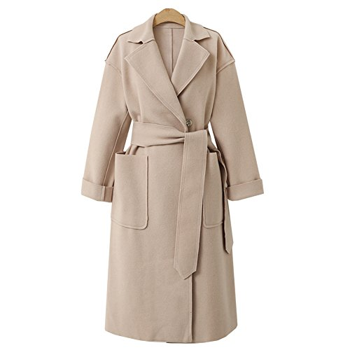 CHICFOR Womens Winter Solid Double Breasted Notched Lapel Slim Wool Trench Coat Outwear Jacket With Belt (Beige, M)