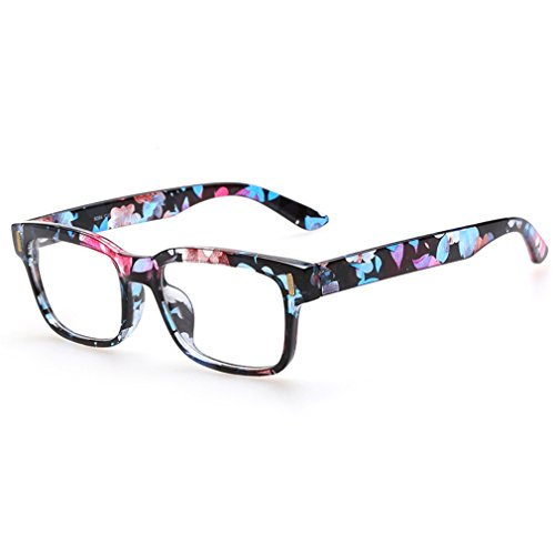 Rnow Premium Unisex Retro Square Frame Eyeglasses Fashion Optical - Girls Glasses