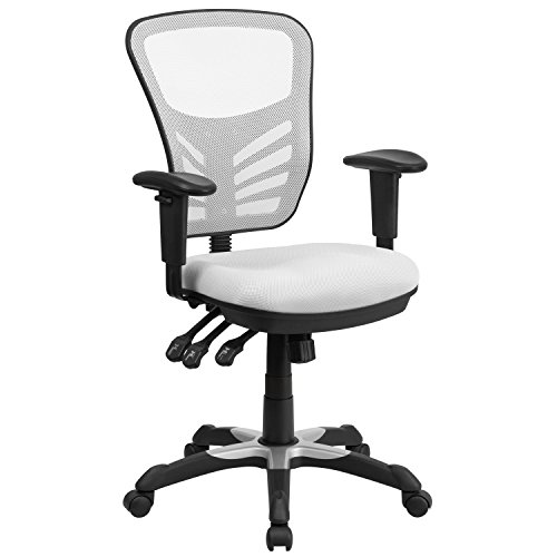 Flash Furniture Mid-Back White Mesh Multifunction Executive Swivel Chair with Adjustable Arms