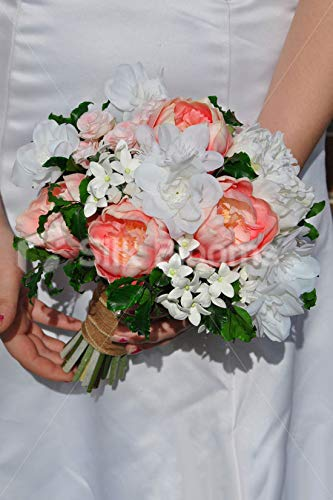 Silk Blooms Ltd Artificial Peach Peony and Foliage Bridal Bouquet w/Stephanotis and Hessian Ribbons