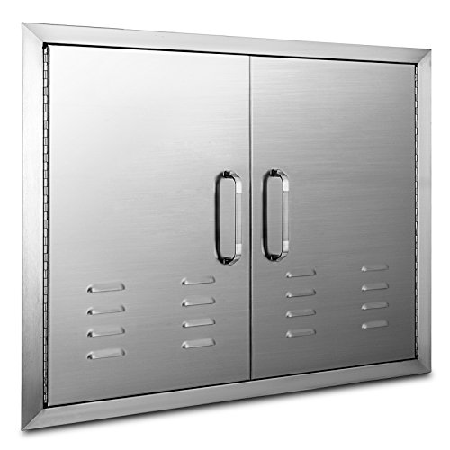 Mophorn 30 x 21Inch Double Door Flush Mount with Vents BBQ Access Door Stainless Steel for BBQ Island Outdoor Kitchen