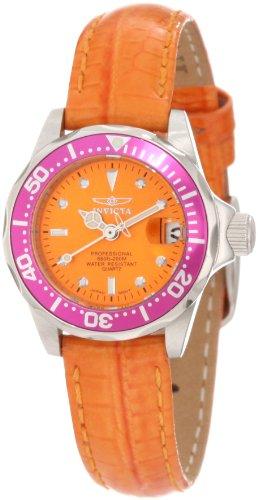 Invicta Women's 11446 Pro Diver Mini Orange Dial Orange Leather (Diver Orange Dial)