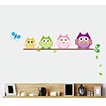 Dushang Colorful Owls on a Branch Nursery Art Vinyl Wall Stickers Decal for Children Courtyard Baby Room (Style B)