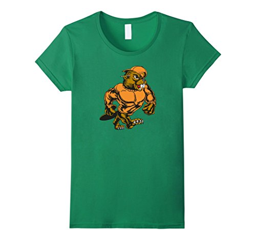 Womens Mascot Beaver Walking Upright Funny Shirt Large Kelly Green