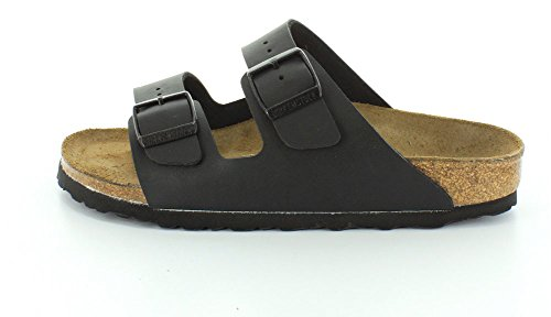 Birkenstock Women's Arizona Narrow Fit Birko Flor Sandal Black-Black-7 Size 7