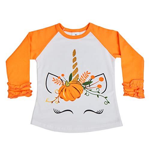 Toddler Baby Girl Unicorn Icing Ruffle Shirts Kids Halloween Costume Raglan Baseball Long Sleeve Cotton Tee T-Shirt Top Boutique Clothes Orange Unicorn Pumpkin 12 Months -