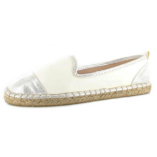 Ella Marbelle White Faux Leather Espadrille Sandals - ell-mab-WTO - UK6/EU39, White