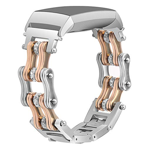 Juner Replacement Bands Compatible For Fitbit Charge 3, Classic & Special Edition Stainless Steel Double Row Bicycle chain Metal Wristband Watch Band Bracelet (Rose Gold) (Metal Bike Chain Watch)