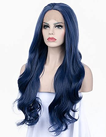 Amazon Com K Ryssma Long Wavy Blue Synthetic Lace Front Wig Beauty
