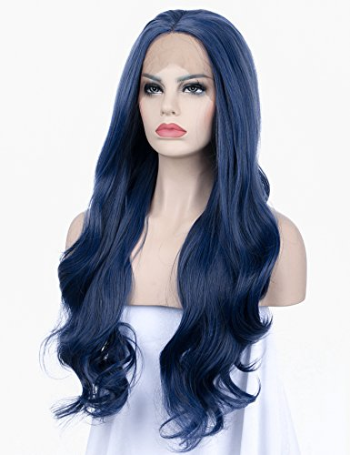 K'ryssma Long Wavy Blue Synthetic Lace Front Wig -