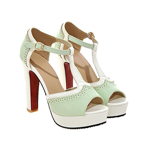 Sky-Pegasus Women Casual Apricot Color Cut-Outs Platform high Heels Women Sandals Size 32-43,Green,9