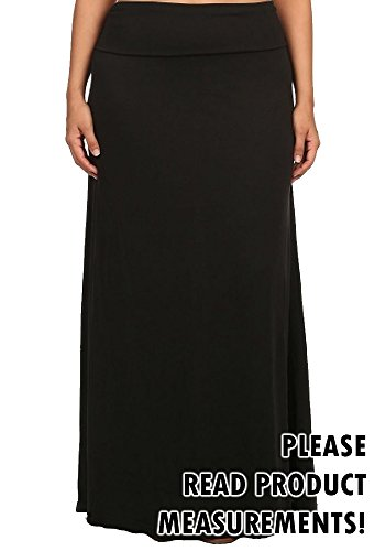 Women's Plus Size Maxi Skirt Solid Color Foldover Waist Stretchy Casual Skirt (1x/2x, Midnight Black)
