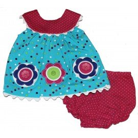 Molly & Millie Baby-girls Flowers & Dots Short Dress & Di...