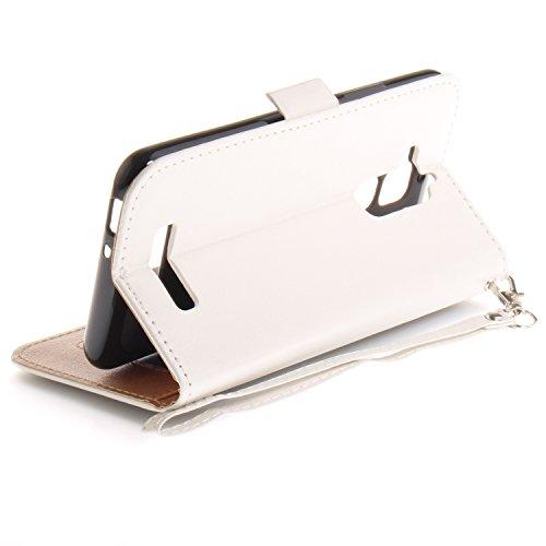 Funda Asus Zenfone 3 MAX ZC520TL,SainCat Funda de cuero sintético tipo billetera con correa de cordón de Suave PU Carcasa Con Tapa y Cartera,Carcasa de Cuero Suave PU Leather de piel mariposa Funda Wa Blanco