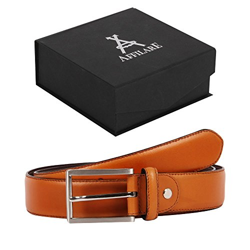 43-44 Affilare Men's Genuine Italian Leather Dress Belt 35mm Tan 12EXB35TN from Affilare